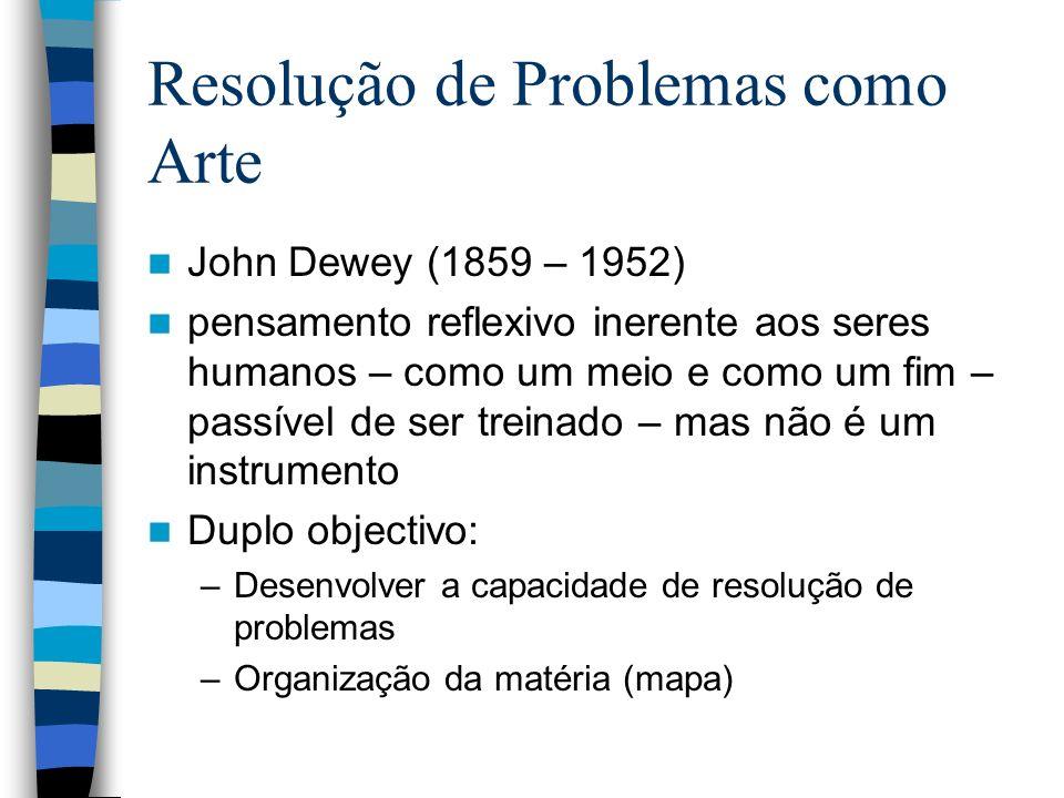 Resolução de Problemas como Arte John Dewey (1859 – 1952) pensamento reflexivo inerente aos seres humanos – como um meio e como um fim – passível de s