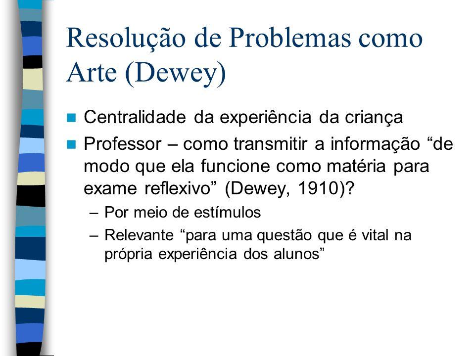 Resolução de Problemas como Arte (Dewey) Centralidade da experiência da criança Professor – como transmitir a informação de modo que ela funcione como