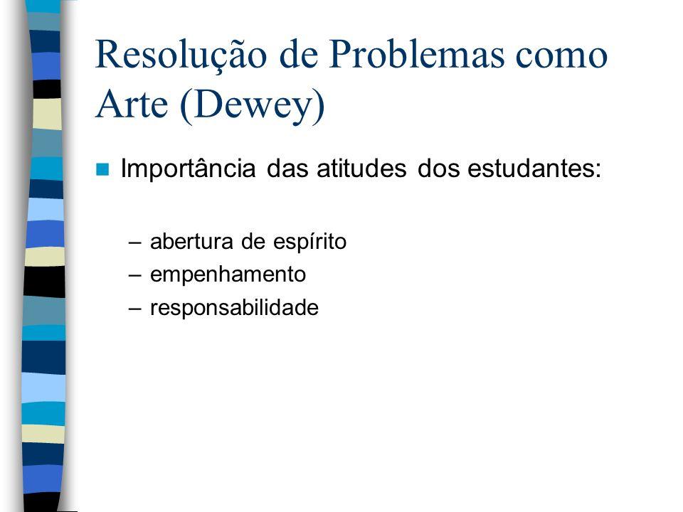 Resolução de Problemas como Arte (Dewey) Importância das atitudes dos estudantes: –abertura de espírito –empenhamento –responsabilidade