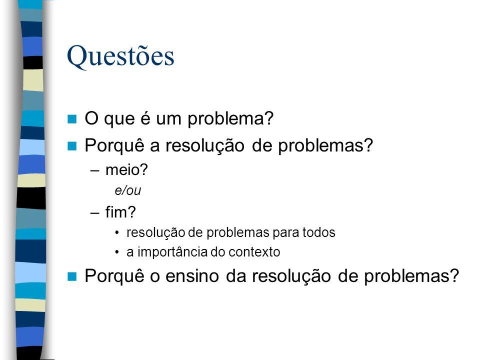 Questões O que é um problema? Porquê a resolução de problemas? –meio? e/ou –fim? resolução de problemas para todos a importância do contexto Porquê o
