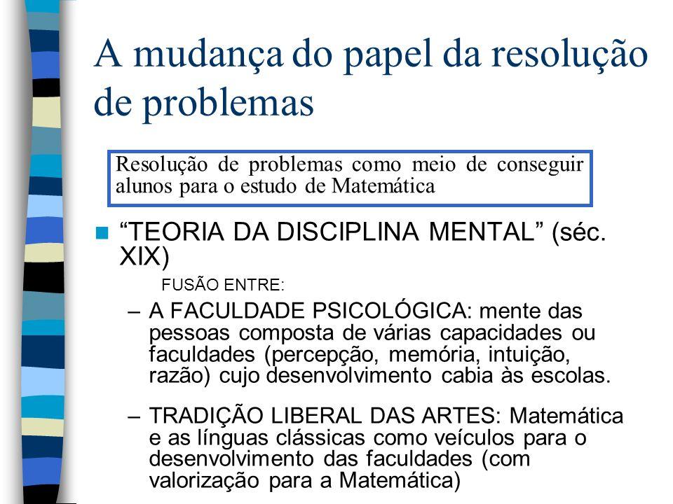 A mudança do papel da resolução de problemas TEORIA DA DISCIPLINA MENTAL (séc. XIX) FUSÃO ENTRE: –A FACULDADE PSICOLÓGICA: mente das pessoas composta