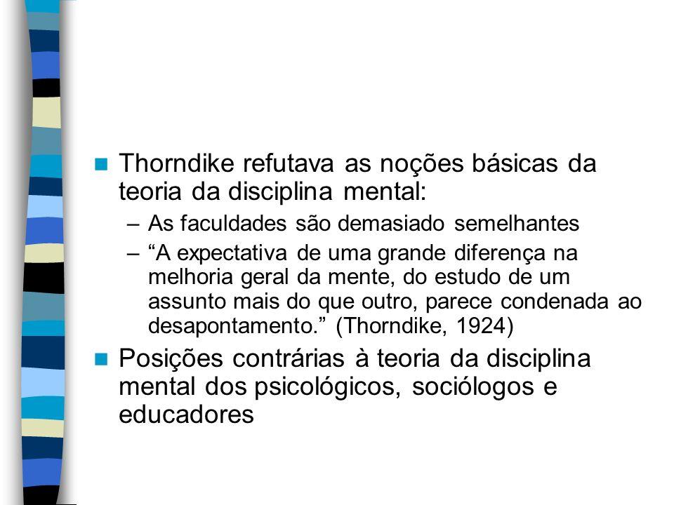 Thorndike refutava as noções básicas da teoria da disciplina mental: –As faculdades são demasiado semelhantes –A expectativa de uma grande diferença n