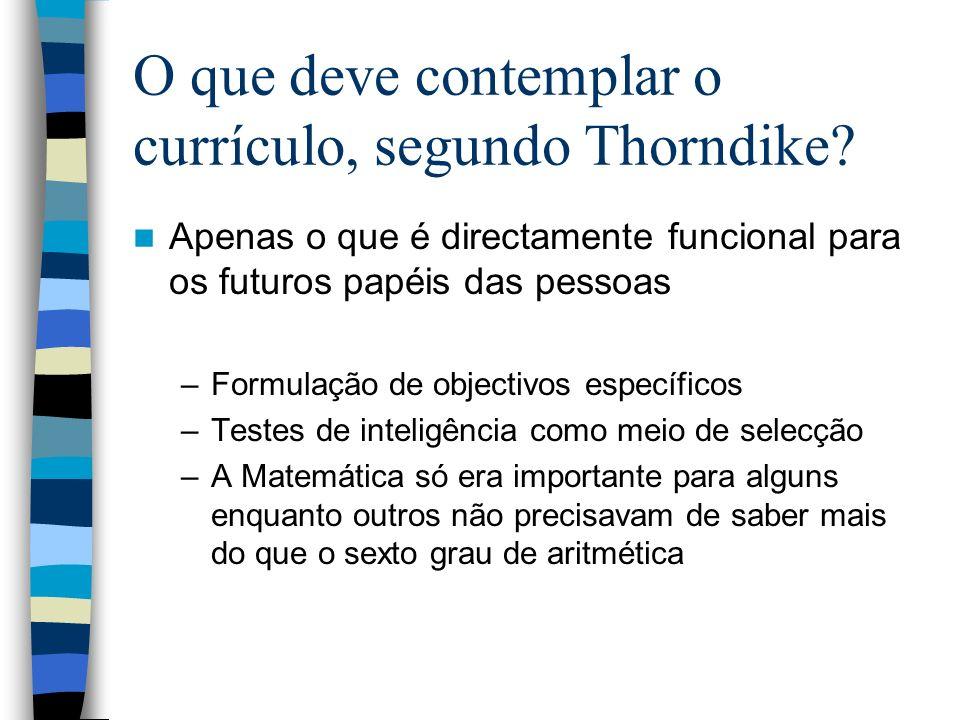 O que deve contemplar o currículo, segundo Thorndike? Apenas o que é directamente funcional para os futuros papéis das pessoas –Formulação de objectiv