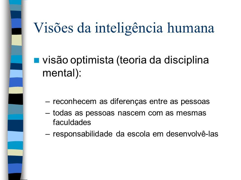 Visões da inteligência humana Visão não optimista (baseada no trabalhos de Thorndike): –as diferenças individuais entre as crianças ditam a necessidade de as expôr a diferentes matérias e métodos de instrução (o grande exército de incapazes, Hall, 1904)
