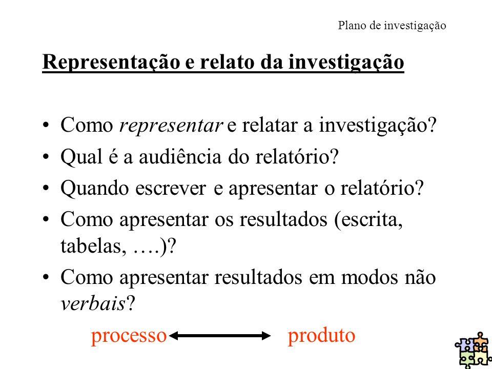 Plano de investigação Representação e relato da investigação Como representar e relatar a investigação? Qual é a audiência do relatório? Quando escrev
