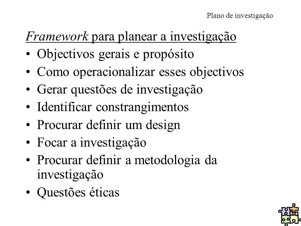 Plano de investigação Framework para planear a investigação Objectivos gerais e propósito Como operacionalizar esses objectivos Gerar questões de inve