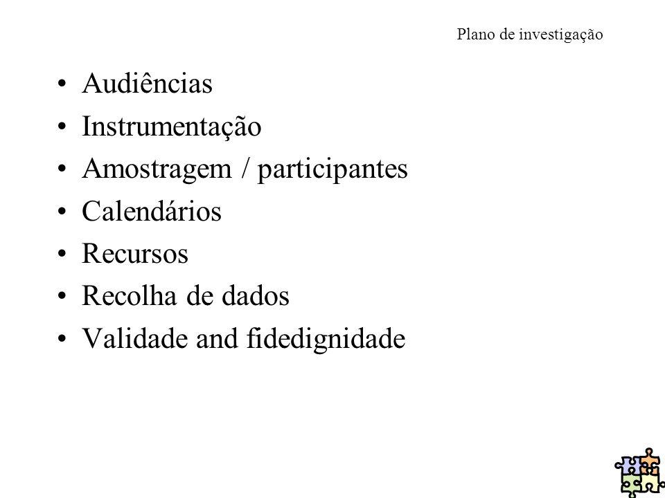 Plano de investigação Audiências Instrumentação Amostragem / participantes Calendários Recursos Recolha de dados Validade and fidedignidade