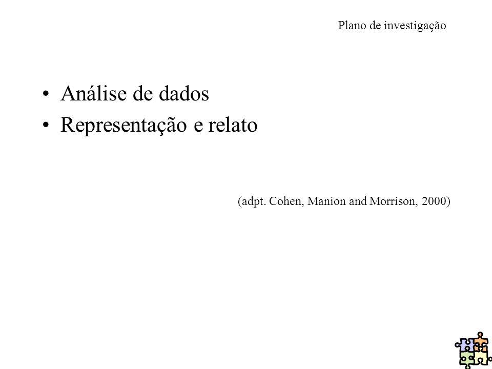 Plano de investigação Análise de dados Representação e relato (adpt. Cohen, Manion and Morrison, 2000)