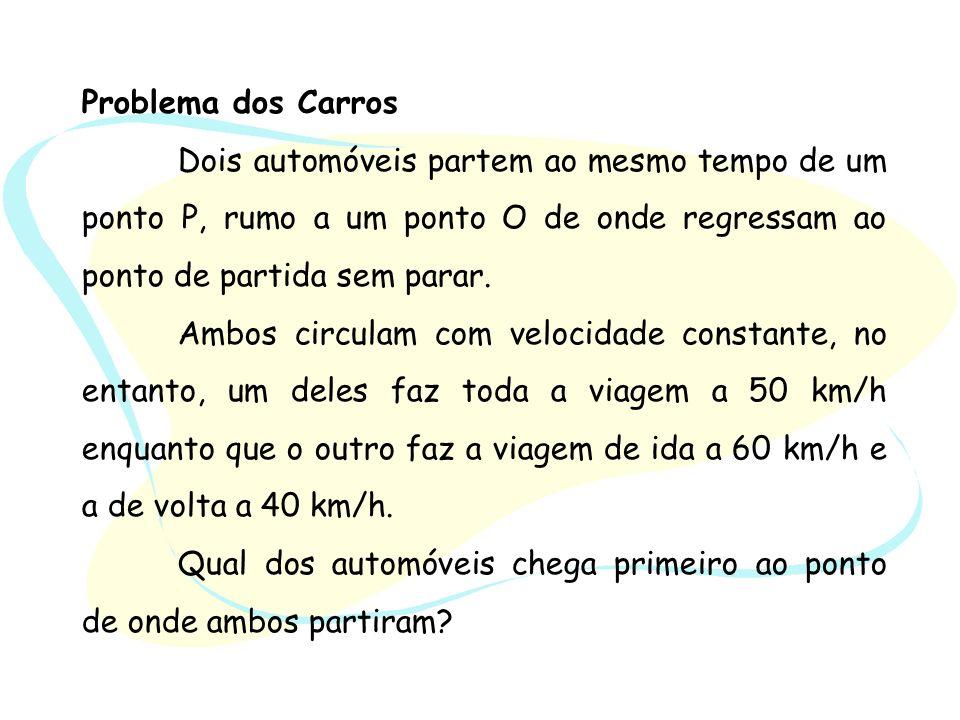 Problema dos Carros Dois automóveis partem ao mesmo tempo de um ponto P, rumo a um ponto O de onde regressam ao ponto de partida sem parar. Ambos circ