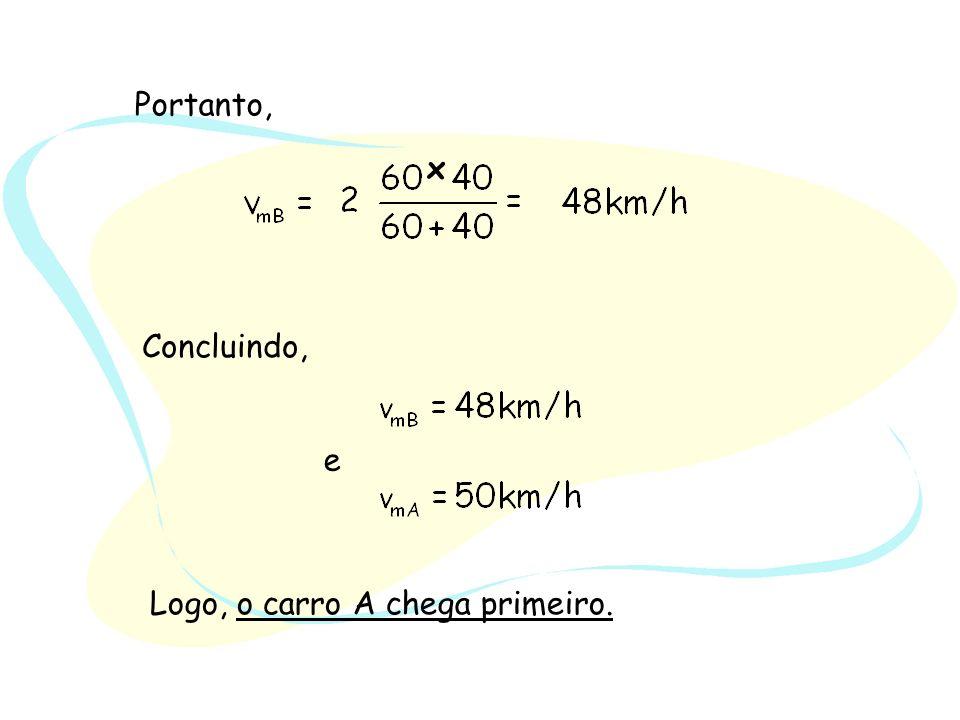 Caso Geral v 1 – velocidade na ida v 2 – velocidade na volta A velocidade média calculada a partir de duas velocidades não é assim a m é dia (aritm é tica) dessas velocidades, mas sim a sua média harmónica.