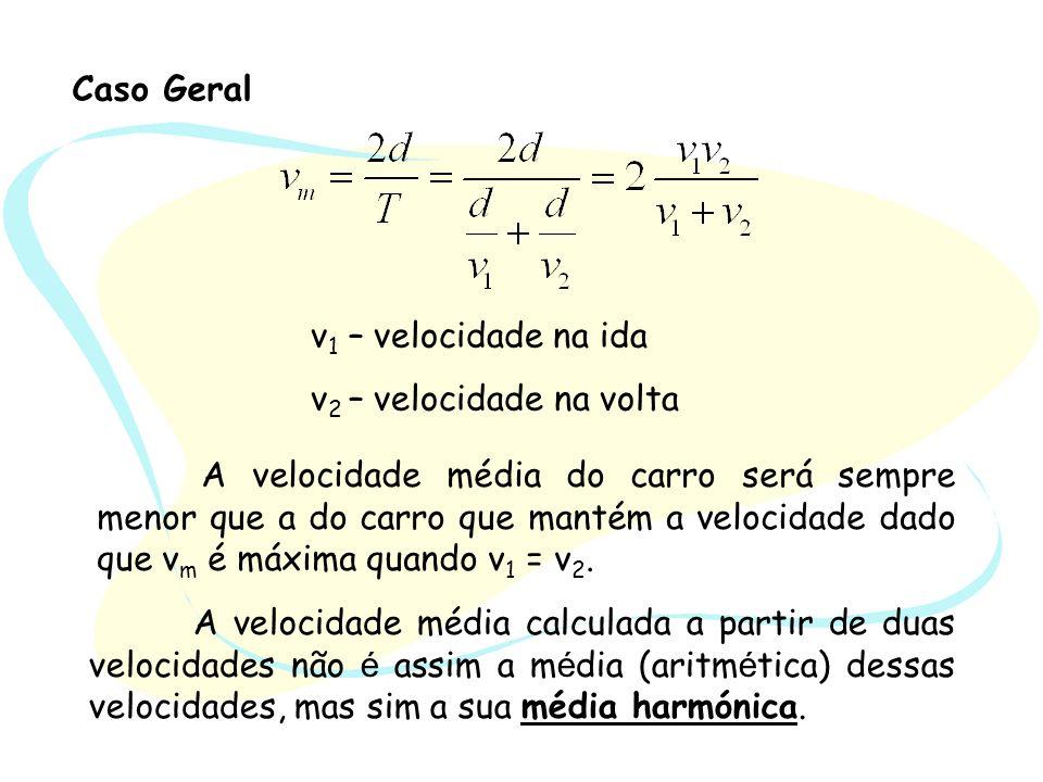 Caso Geral v 1 – velocidade na ida v 2 – velocidade na volta A velocidade média calculada a partir de duas velocidades não é assim a m é dia (aritm é