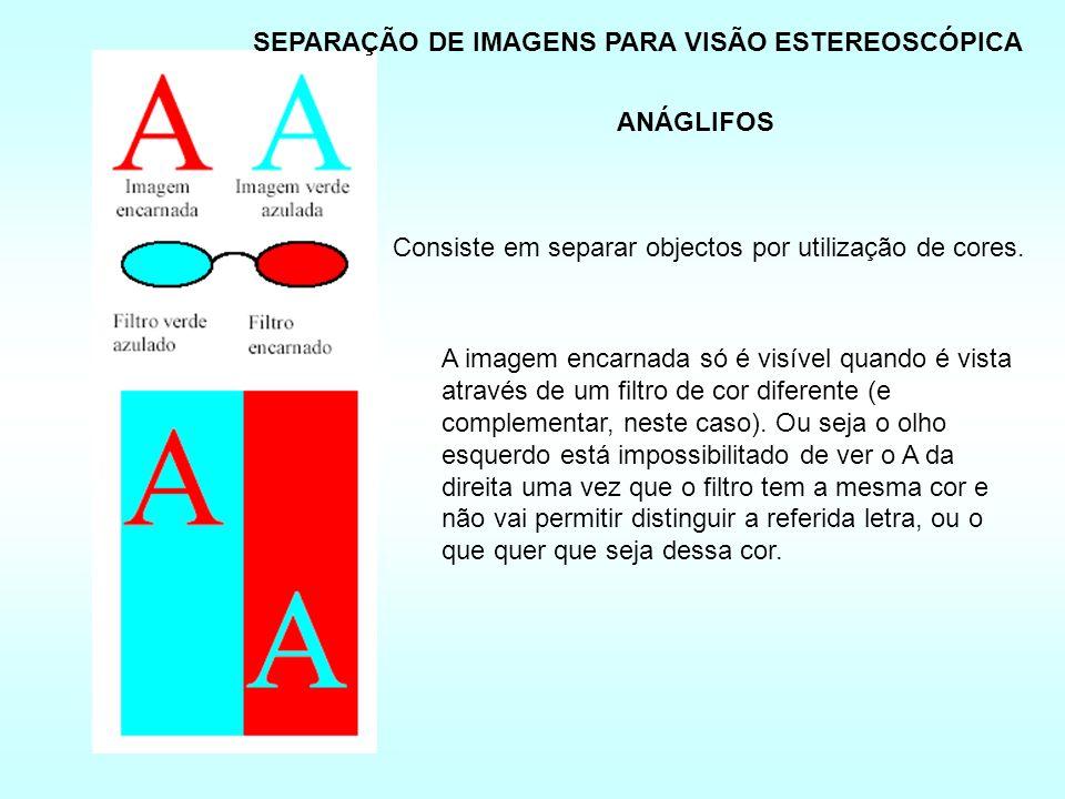 ANÁGLIFOS Consiste em separar objectos por utilização de cores.