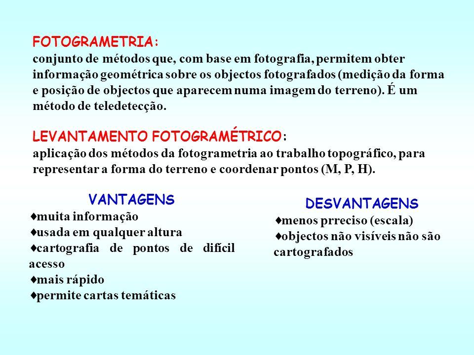 FOTOGRAMETRIA: conjunto de métodos que, com base em fotografia, permitem obter informação geométrica sobre os objectos fotografados (medição da forma e posição de objectos que aparecem numa imagem do terreno).