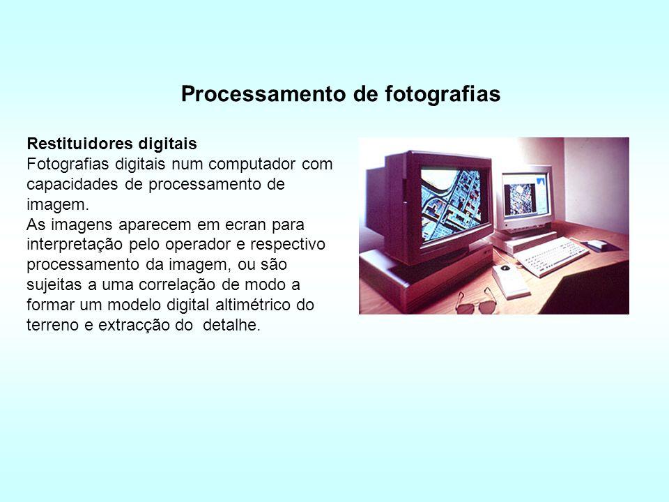 Restituidores digitais Fotografias digitais num computador com capacidades de processamento de imagem.