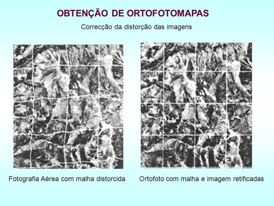 Fotografia Aérea com malha distorcidaOrtofoto com malha e imagem retificadas OBTENÇÃO DE ORTOFOTOMAPAS Correcção da distorção das imagens