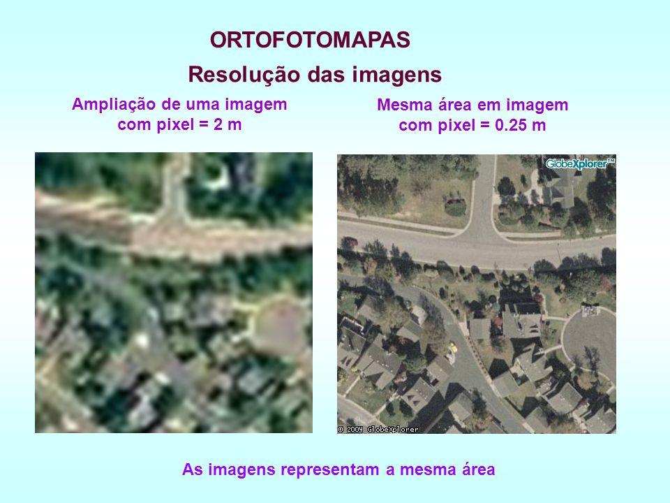 Resolução das imagens Mesma área em imagem com pixel = 0.25 m Ampliação de uma imagem com pixel = 2 m As imagens representam a mesma área ORTOFOTOMAPAS