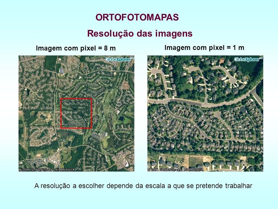 Resolução das imagens Imagem com pixel = 8 m ORTOFOTOMAPAS Imagem com pixel = 1 m A resolução a escolher depende da escala a que se pretende trabalhar