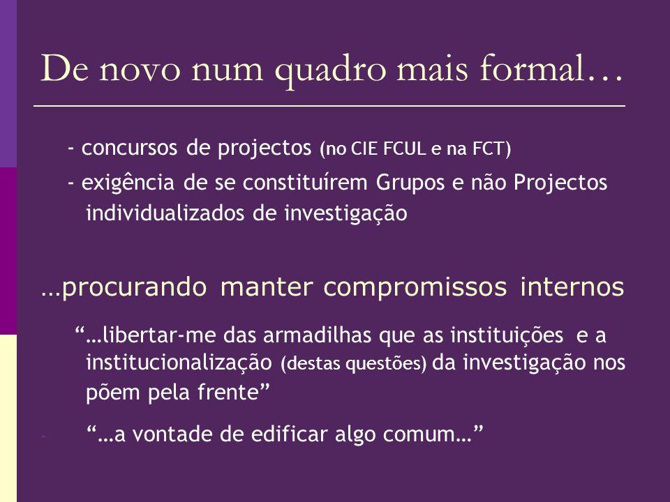 De novo num quadro mais formal… - concursos de projectos (no CIE FCUL e na FCT) - exigência de se constituírem Grupos e não Projectos individualizados
