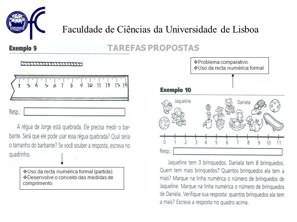 Faculdade de Ciências da Universidade de Lisboa TAREFAS PROPOSTAS Uso da recta numérica formal (partida). Desenvolve o conceito das medidas de comprim