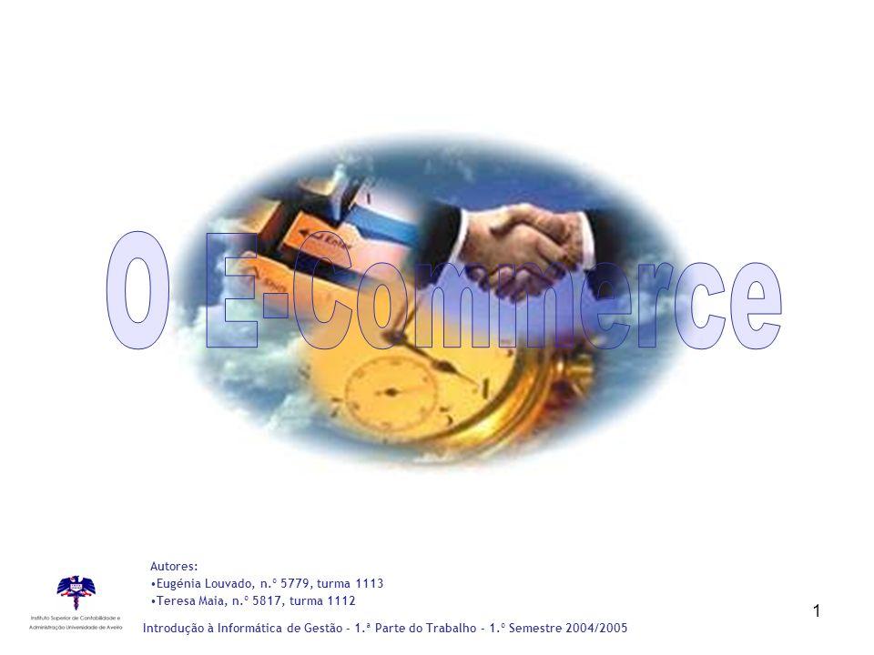 1 Introdução à Informática de Gestão - 1.ª Parte do Trabalho – 1.º Semestre 2004/2005 Autores: Eugénia Louvado, n.º 5779, turma 1113 Teresa Maia, n.º
