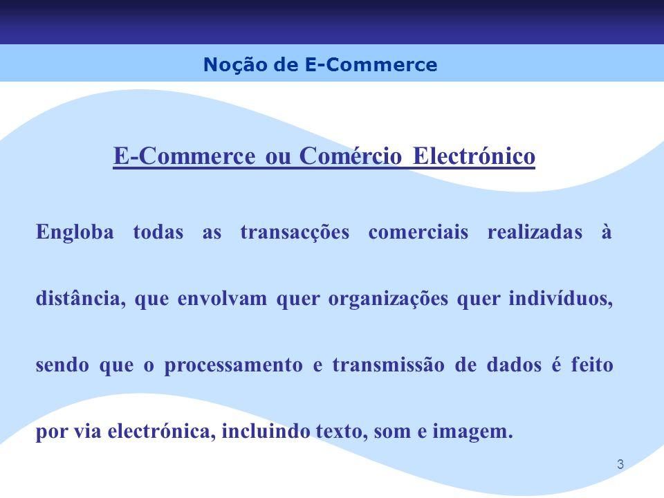 3 E-Commerce ou Comércio Electrónico Engloba todas as transacções comerciais realizadas à distância, que envolvam quer organizações quer indivíduos, s