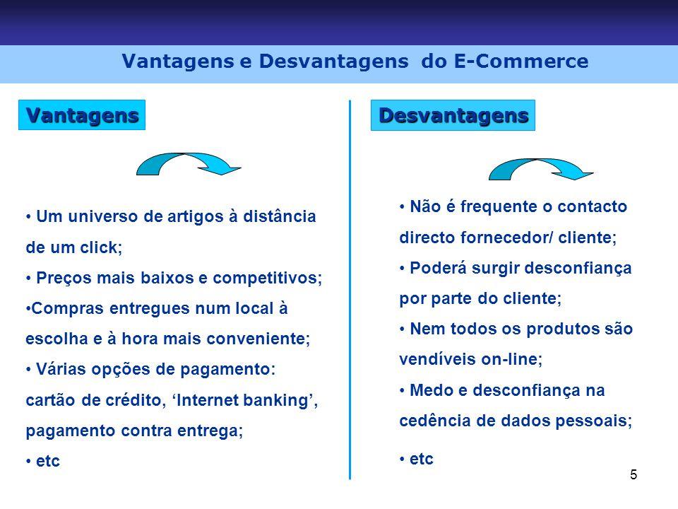 5 Desvantagens Vantagens Vantagens e Desvantagens do E-Commerce Um universo de artigos à distância de um click; Preços mais baixos e competitivos; Com