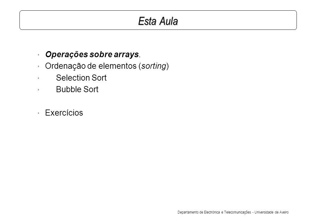 Departamento de Electrónica e Telecomunicações - Universidade de Aveiro Esta Aula ° Operações sobre arrays.