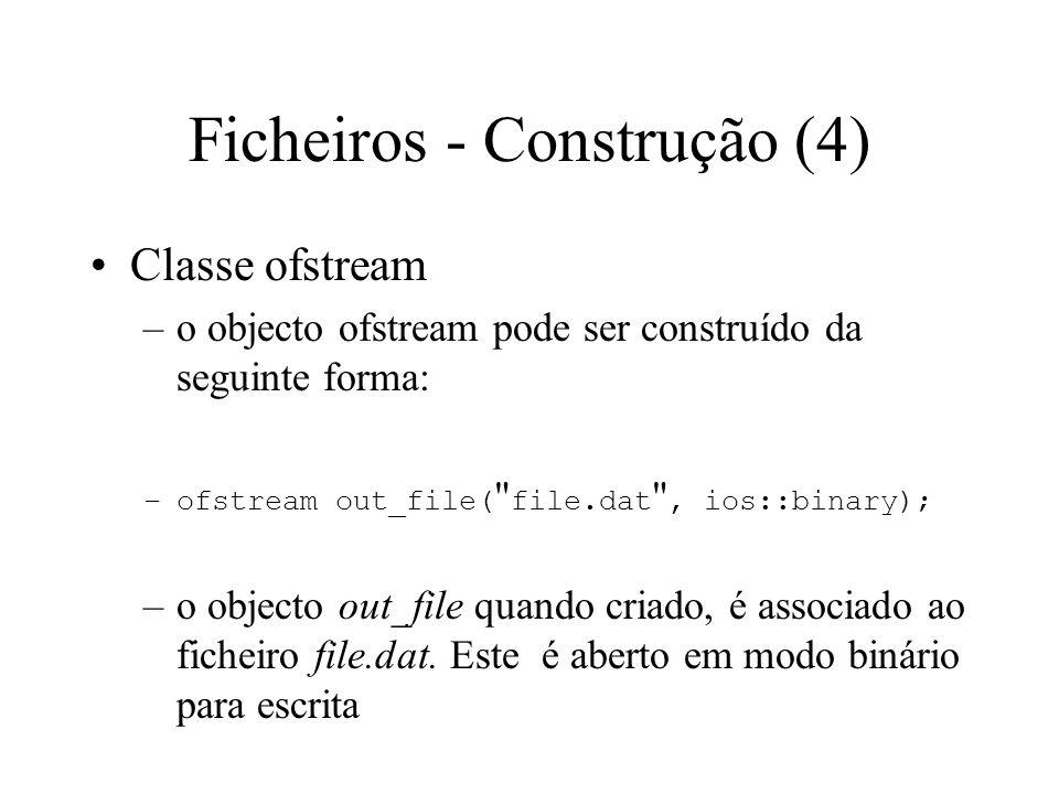 Ficheiros - Construção (3) Qualquer construtor para objectos do tipo ficheiro, constrói apenas o objecto ficheiro sem abrir o ficheiro físico se não for dado o nome do ficheiro aquando da construção
