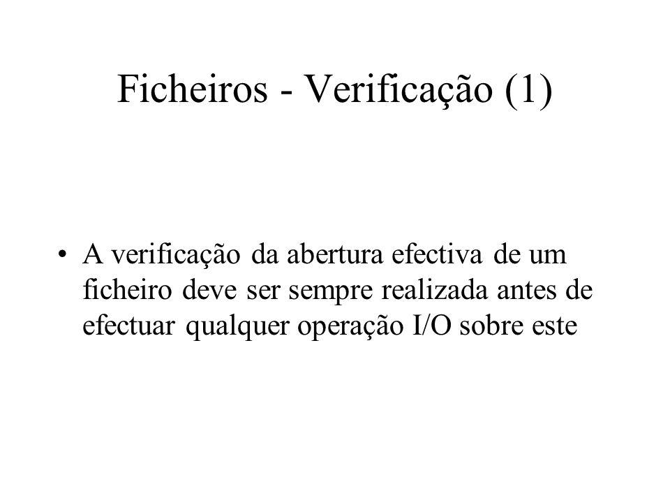 Ficheiros - Construção (6) Classe fstream = ifstream + ofstream –o objecto fstream pode ser criado da seguinte forma: –fstream io_file( file.dat , ios::in | ios::out | ios::binary); –é criado o objecto io_file para leitura/escrita em modo binário, associado ao ficheiro file.dat