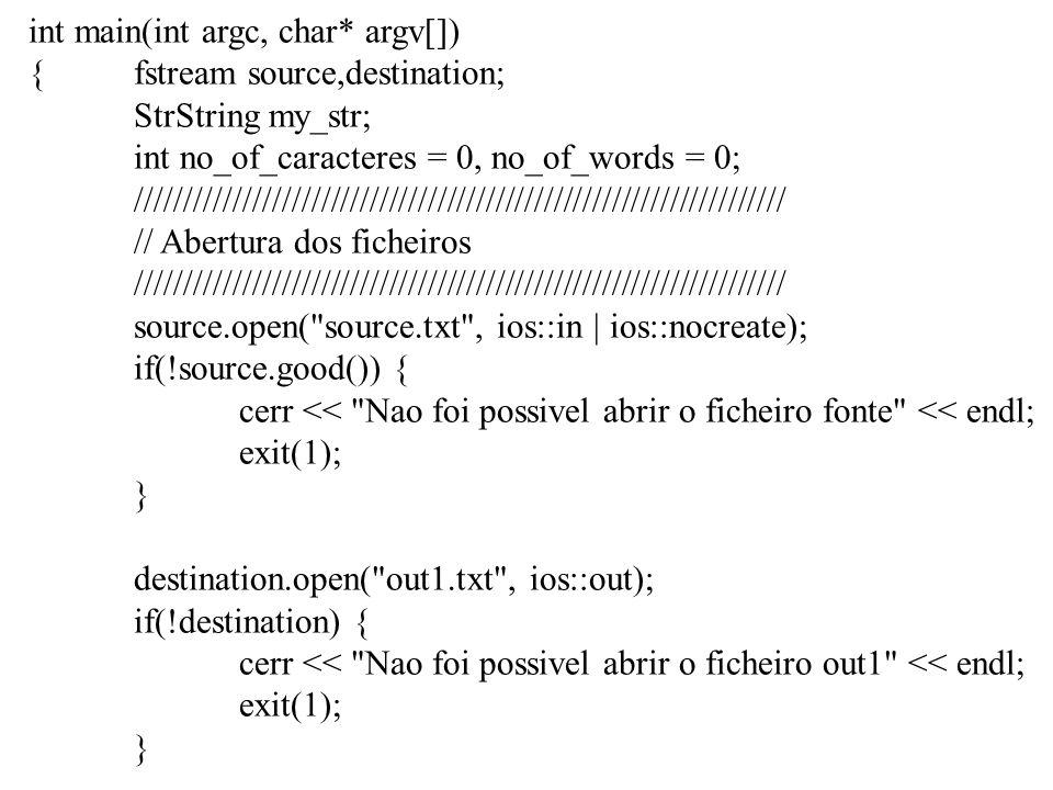 char str[50]; source >> str; cout << str << endl; destination.write(str,7); source >> str; cout << str << endl; destination.write(str,7); source >> str; cout << str << endl; destination.write(str,7); source >> str; cout << str << endl; destination.write(str,7); source.close(); destination.close(); return 0; } Aveiro Lisboa Porto Coimbra Faro Braga Aveiro Lisboa Porto Coimbra