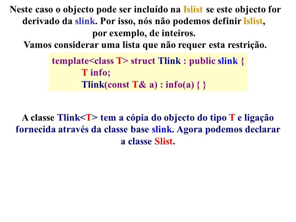Neste caso o objecto pode ser incluído na Islist se este objecto for derivado da slink.
