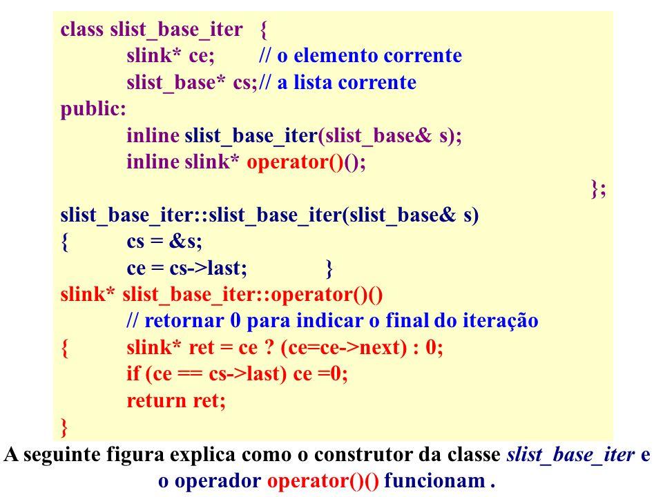 class slist_base_iter{ slink* ce;// o elemento corrente slist_base* cs;// a lista corrente public: inline slist_base_iter(slist_base& s); inline slink* operator()(); }; slist_base_iter::slist_base_iter(slist_base& s) {cs = &s; ce = cs->last;} slink* slist_base_iter::operator()() // retornar 0 para indicar o final do iteração {slink* ret = ce .