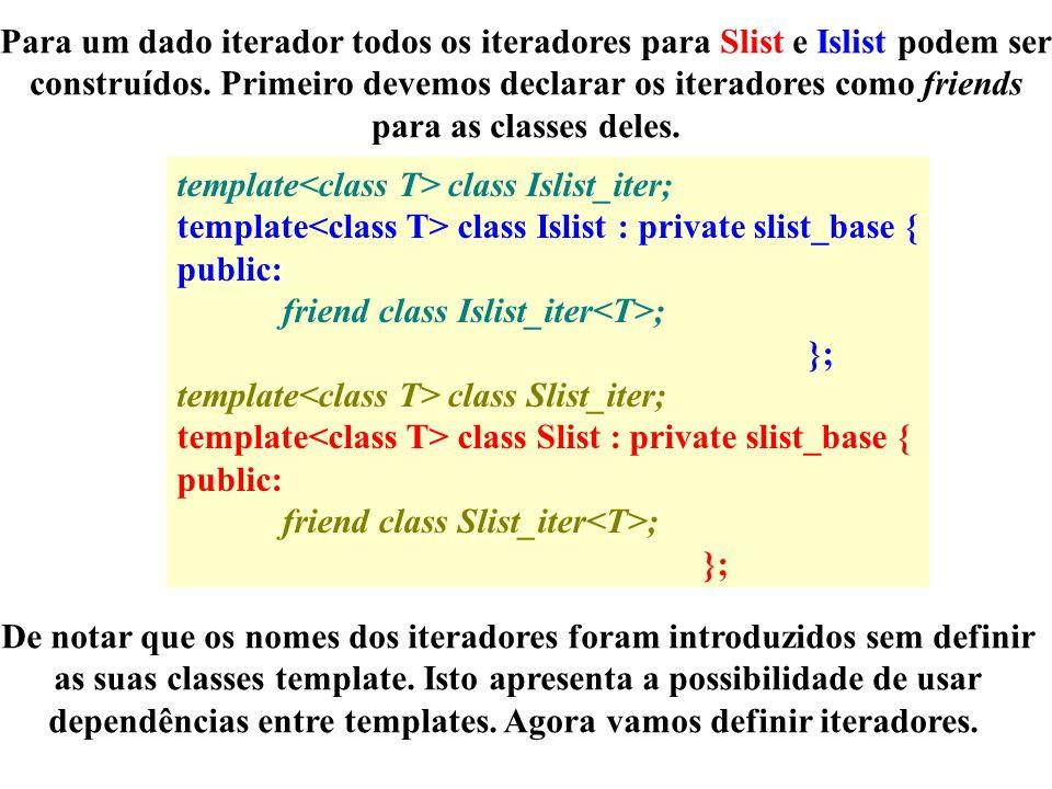 Para um dado iterador todos os iteradores para Slist e Islist podem ser construídos.