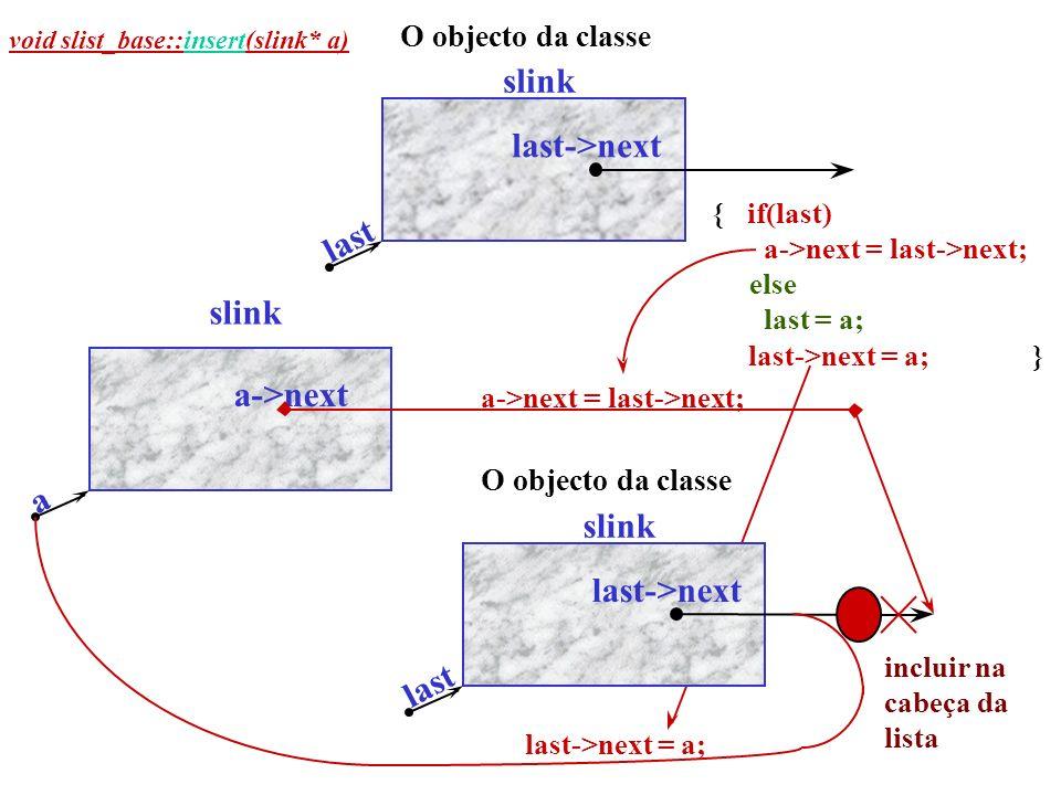 O objecto da classe slink last->next last O objecto da classe slink last->next last a->next a slink incluir na cabeça da lista {if(last) a->next = last->next; else last = a; last->next = a;} void slist_base::insert(slink* a) a->next = last->next; last->next = a;