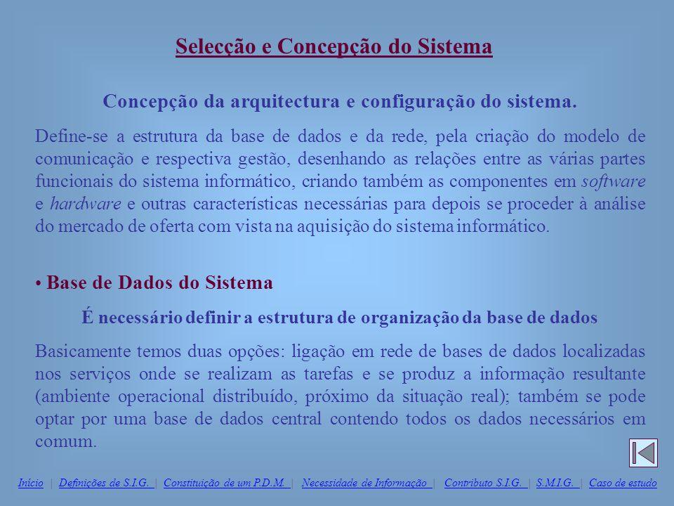 Concepção da arquitectura e configuração do sistema. Define-se a estrutura da base de dados e da rede, pela criação do modelo de comunicação e respect