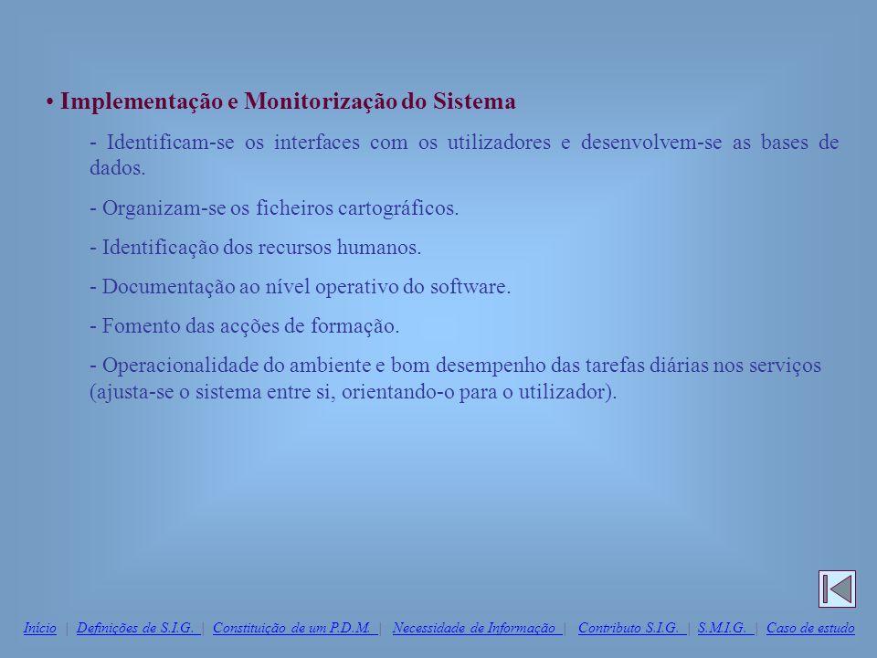 Implementação e Monitorização do Sistema - Identificam-se os interfaces com os utilizadores e desenvolvem-se as bases de dados. - Organizam-se os fich