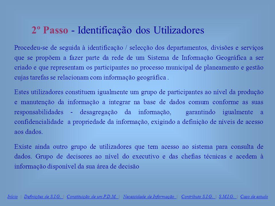 2º Passo - Identificação dos Utilizadores Procedeu-se de seguida à identificação / selecção dos departamentos, divisões e serviços que se propõem a fa