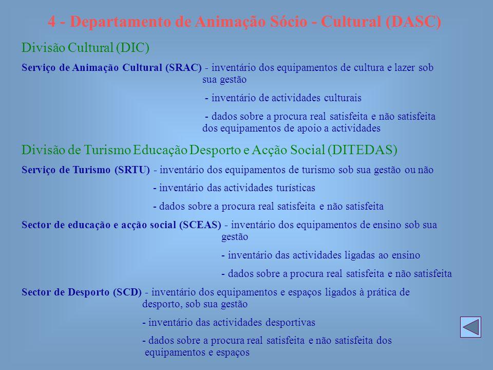 4 - Departamento de Animação Sócio - Cultural (DASC) Divisão Cultural (DIC) Serviço de Animação Cultural (SRAC) - inventário dos equipamentos de cultu
