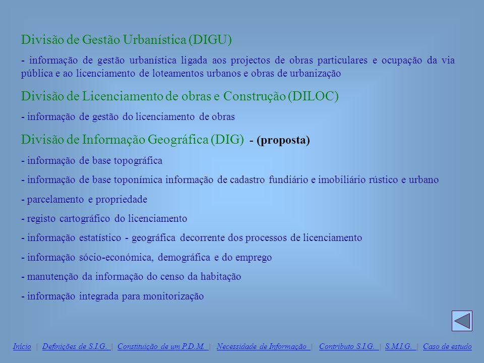 Divisão de Gestão Urbanística (DIGU) - informação de gestão urbanística ligada aos projectos de obras particulares e ocupação da via pública e ao lice