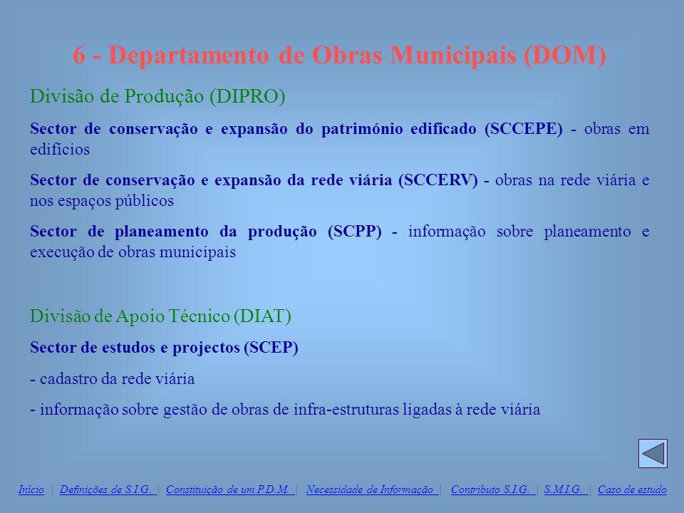 6 - Departamento de Obras Municipais (DOM) Divisão de Produção (DIPRO) Sector de conservação e expansão do património edificado (SCCEPE) - obras em ed