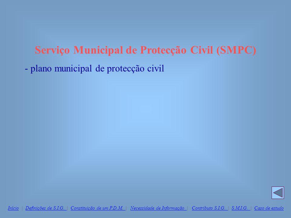 Serviço Municipal de Protecção Civil (SMPC) - plano municipal de protecção civil InícioInício | Definições de S.I.G. | Constituição de um P.D.M. | Nec