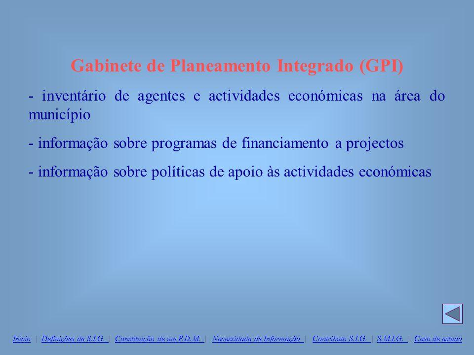 Gabinete de Planeamento Integrado (GPI) - inventário de agentes e actividades económicas na área do município - informação sobre programas de financia