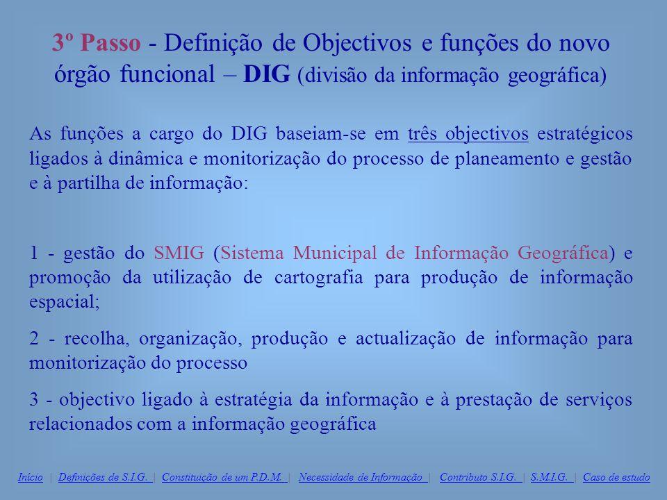3º Passo - Definição de Objectivos e funções do novo órgão funcional – DIG (divisão da informação geográfica) As funções a cargo do DIG baseiam-se em