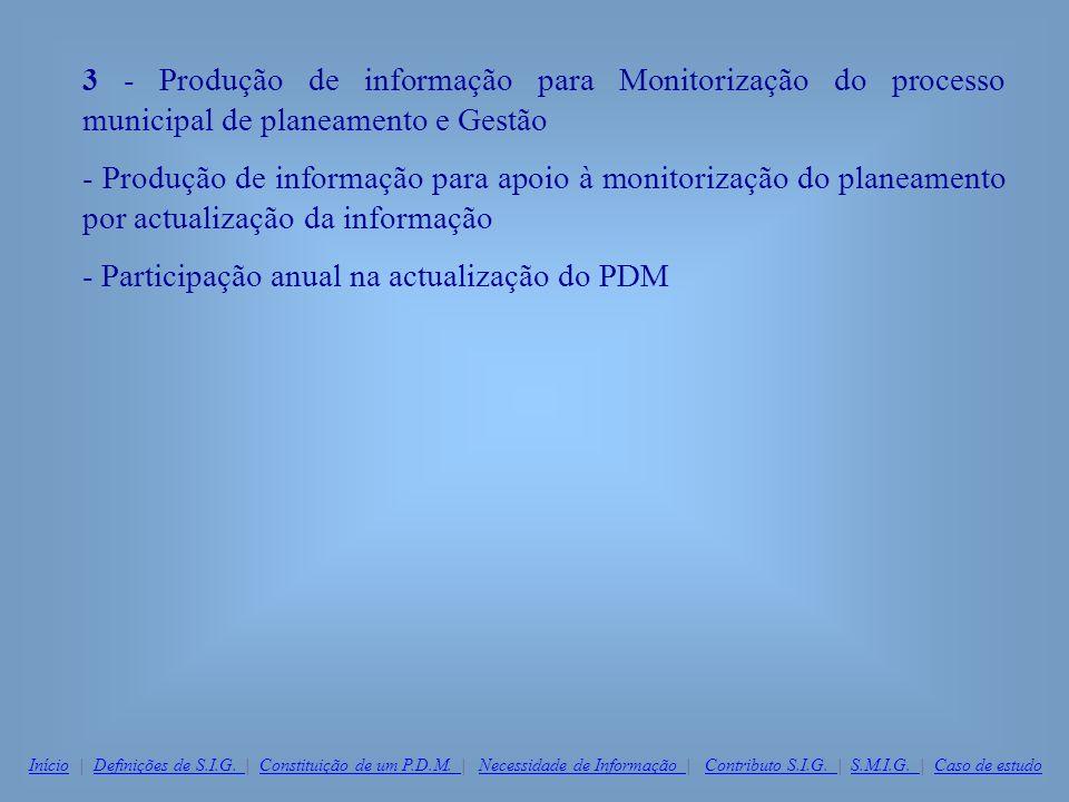 3 - Produção de informação para Monitorização do processo municipal de planeamento e Gestão - Produção de informação para apoio à monitorização do pla