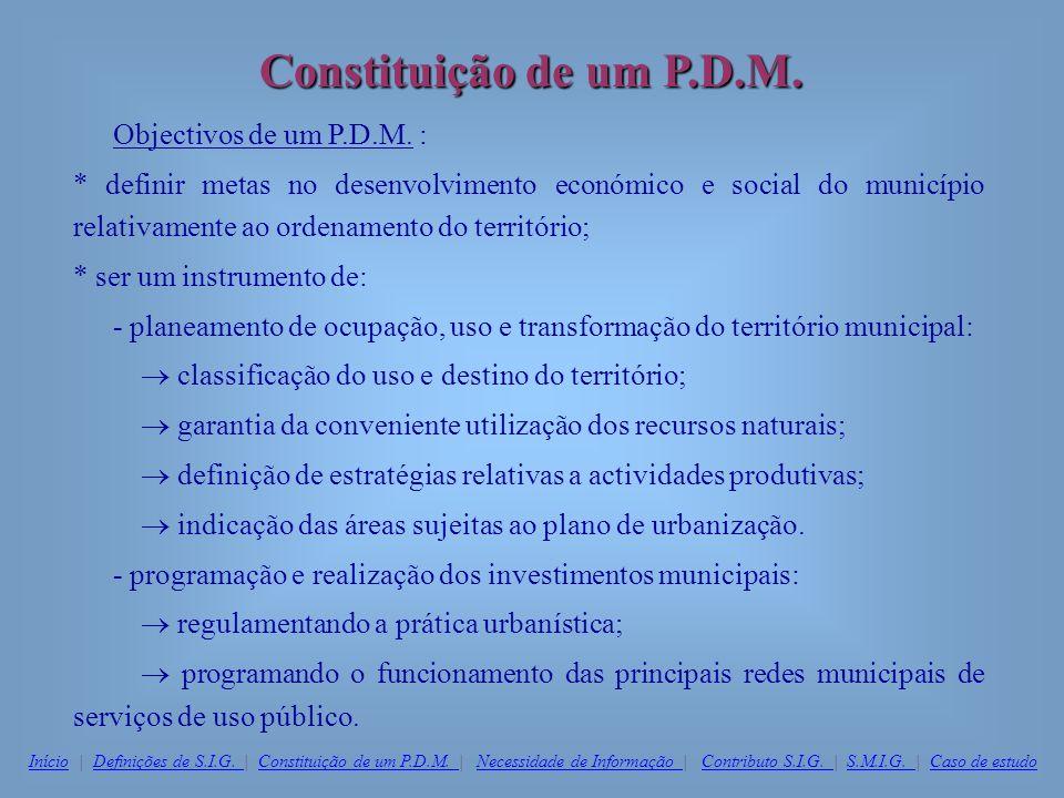 Constituição de um P.D.M. Objectivos de um P.D.M. : * definir metas no desenvolvimento económico e social do município relativamente ao ordenamento do
