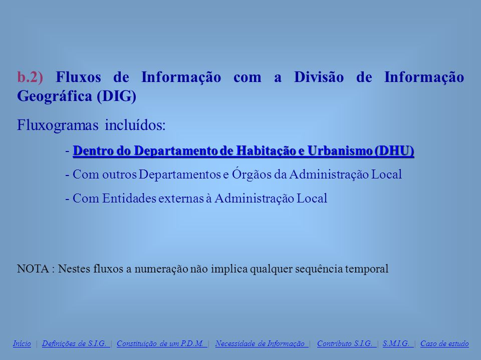 b.2) Fluxos de Informação com a Divisão de Informação Geográfica (DIG) Fluxogramas incluídos: Dentro do Departamento de Habitação e Urbanismo (DHU) De