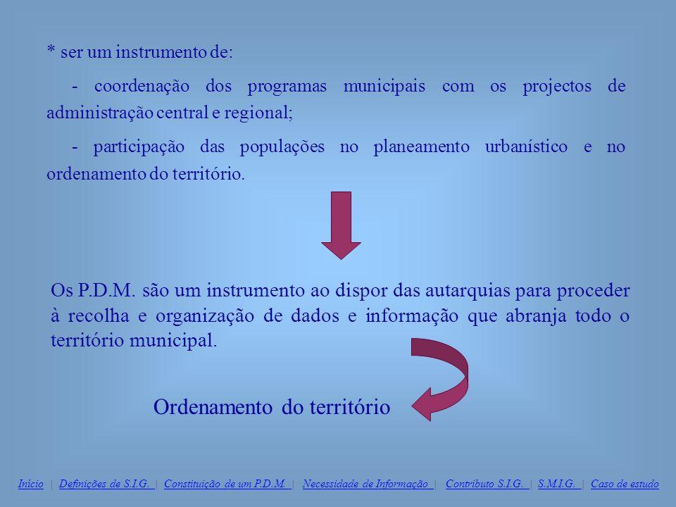 * ser um instrumento de: - coordenação dos programas municipais com os projectos de administração central e regional; - participação das populações no