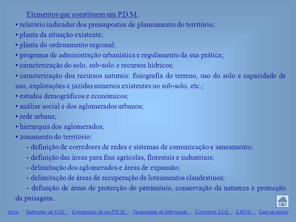 Elementos que constituem um P.D.M.: relatório indicador dos pressupostos de planeamento do território; planta da situação existente; planta do ordenam