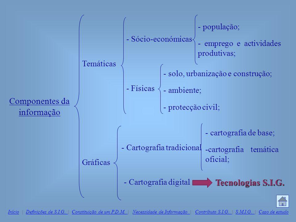 Componentes da informação Temáticas Gráficas - Sócio-económicas - Físicas - população; - emprego e actividades produtivas; - solo, urbanização e const