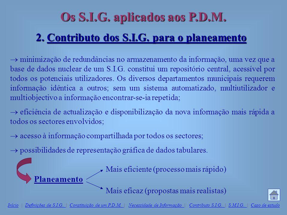 Os S.I.G. aplicados aos P.D.M. 2. Contributo dos S.I.G. para o planeamento minimização de redundâncias no armazenamento da informação, uma vez que a b